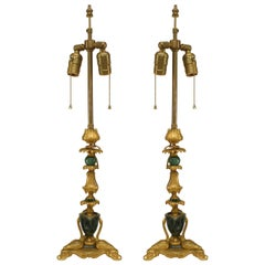 Pair of French Louis XV Bronze Dore Table Lamps