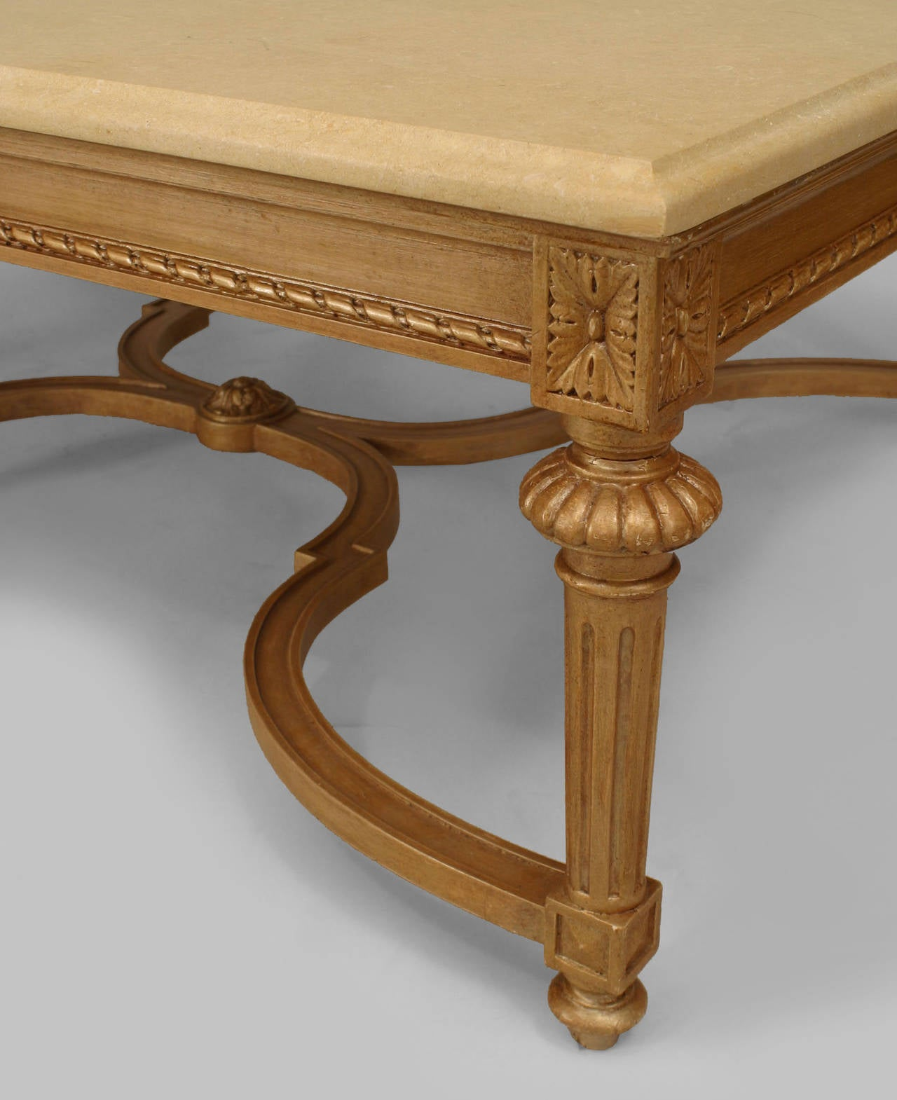 Large French Coffee Table: Large 20th French Louis XVI Style Marble And Gilt Carved