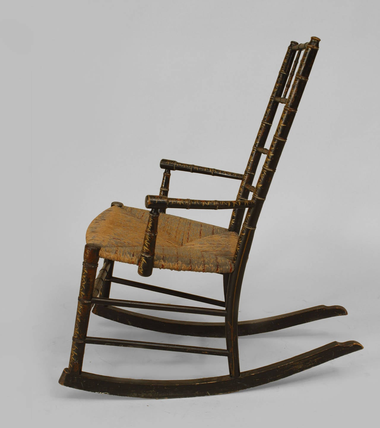19th Century American Country Style Childu0027s Rocking Chair With An Ebonized  Faux Bamboo Design And Decorated