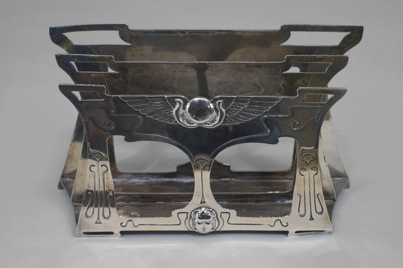 Felt Late 19th Century English Egyptian Revival Six-Piece Sterling Silver Desk Set For Sale