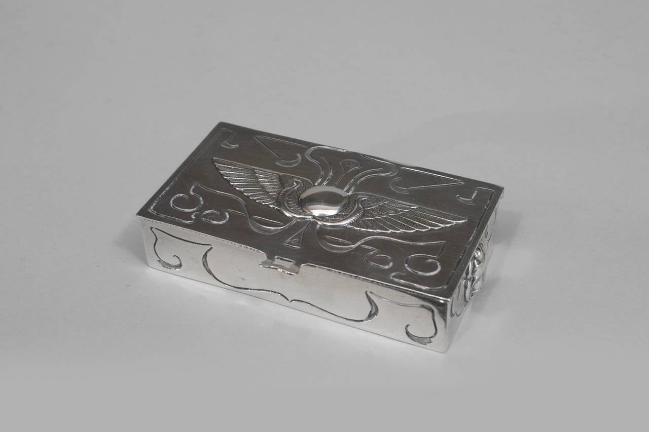Late 19th Century English Egyptian Revival Six-Piece Sterling Silver Desk Set For Sale 3