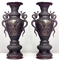 Pair of 19th Century Japanese Palace Urns