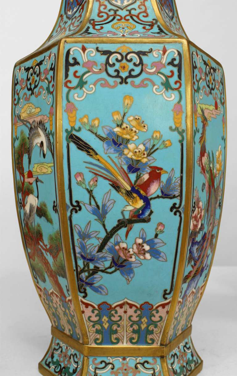 Enamel Pair of 19th Century French Chinoiserie Vases For Sale