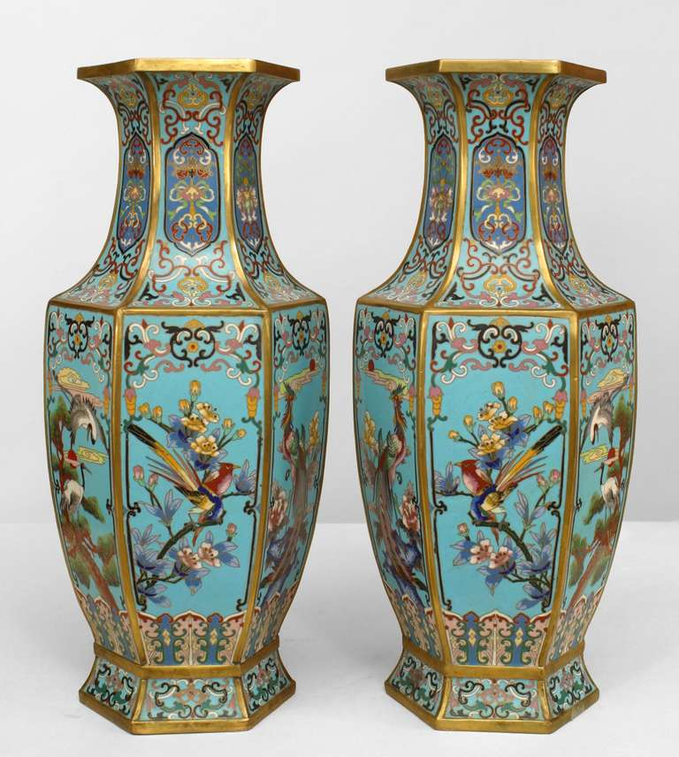 Pair of nineteenth century French hexagonal vases decorated in blue enamel and cloisonne Chinoiserie.