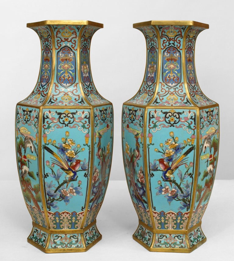 Pair of 19th Century French Chinoiserie Vases For Sale
