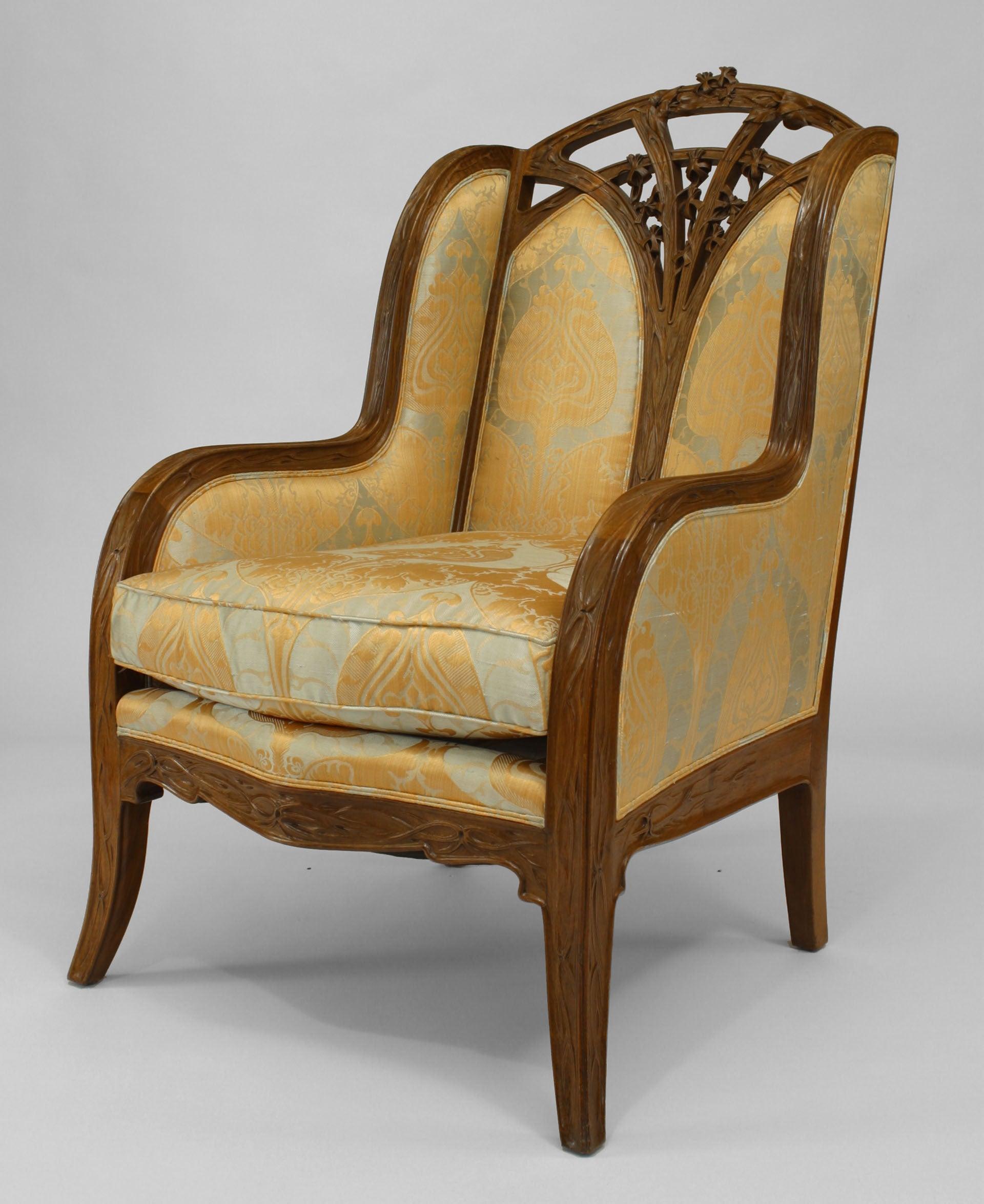 Louis Majorelle French Art Nouveau Walnut Bergére Arm Chair