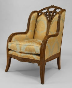 French Art Nouveau Carved Bergere, by Louis Majorelle