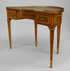 19th Century French Kingwood and Bronze Dore Demilune Desk