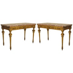 Pair of Mid-18th c. Italian Neoclassical Gilt Carved Consoles