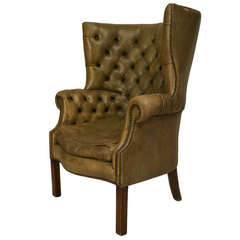 19th Century Georgian Tufted Green Leather Wing Chair