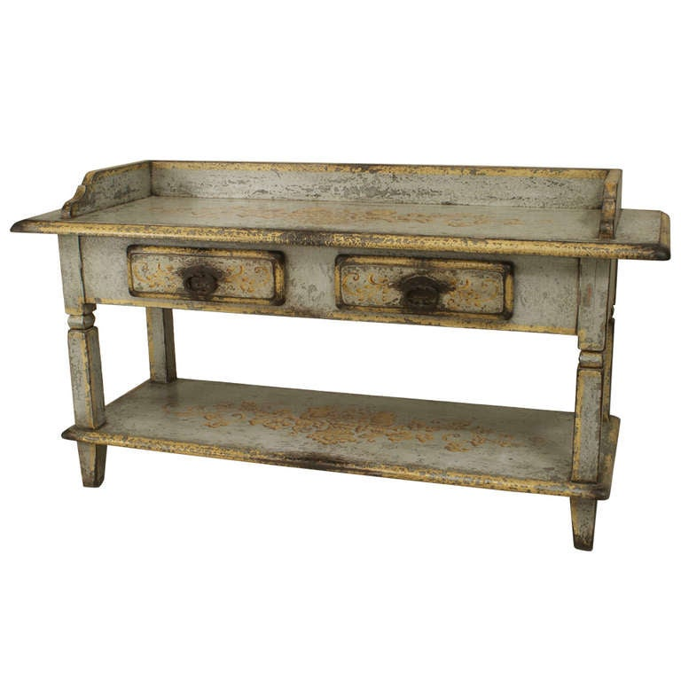 19th c. French Provincial Grey and Gold Serving or Work Table