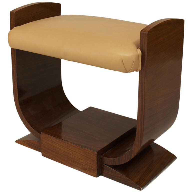 French Art Deco U Shaped Dressing Table Bench With Leather Seat For Sale