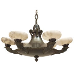 French Victorian Green Tole and Alabaster Chandelier