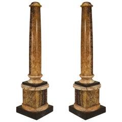 Pair of Important Blue John Columns, Circa 1810
