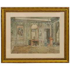 19th c. Venetian Gold-Framed Watercolor Painting