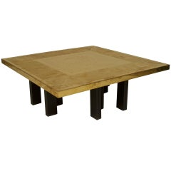 Lova Creations Belgian Modern Square Etched Brass Coffee Table