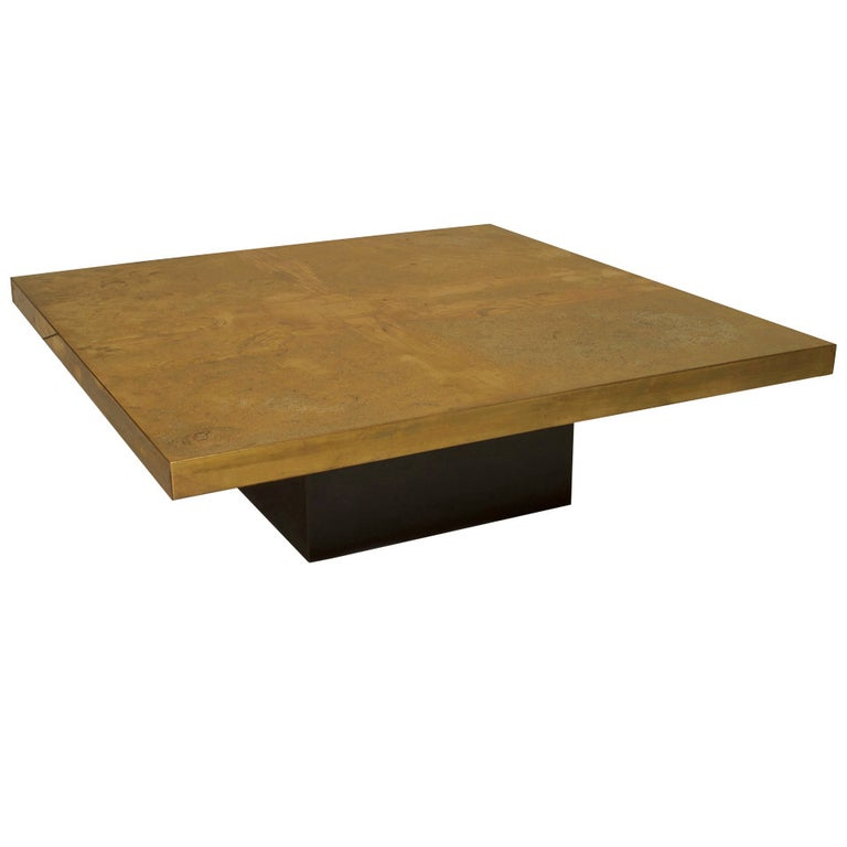 George Mathias Belgian Modern Square Etched Brass Coffee Table For Sale