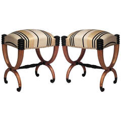 Pair of Neoclassical Ebonized Fruitwood Benches, Circa 1835