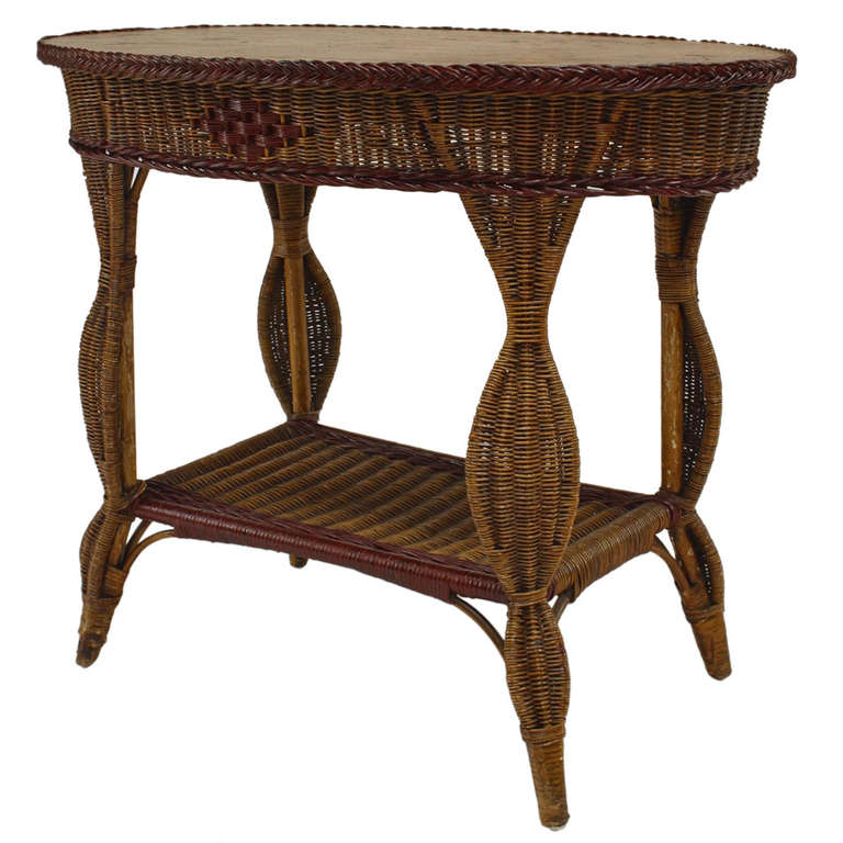 natural wicker end table 2