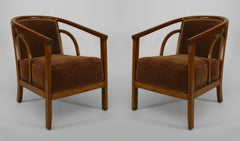 Diminutive Pair of Mid-Century American Beechwood Armchairs