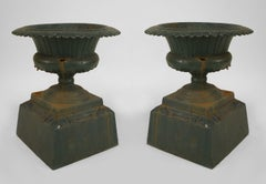 Pair of Outdoor Green Painted Iron Urns
