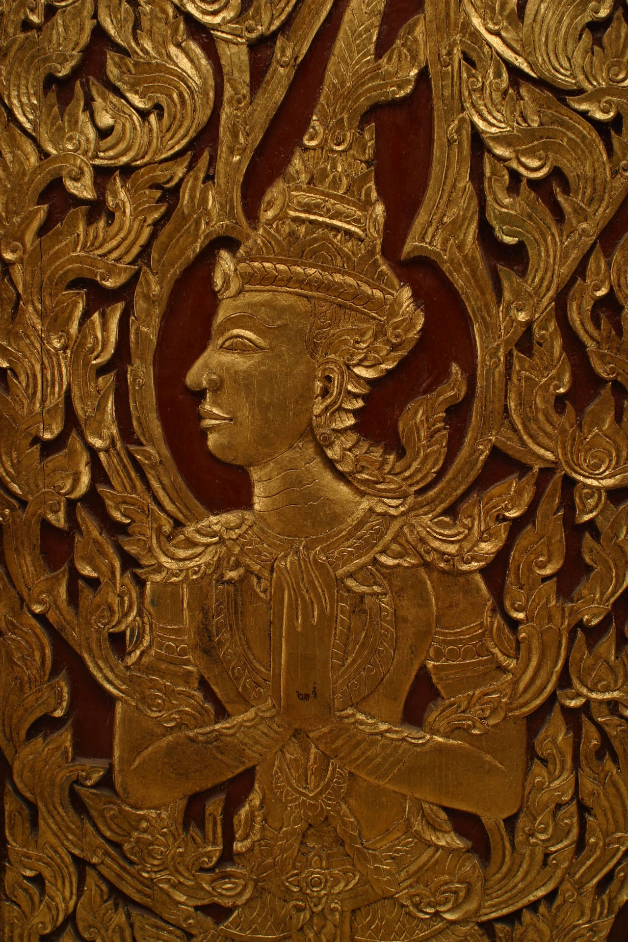 pair of turn of the century thai carved and painted doors for sale