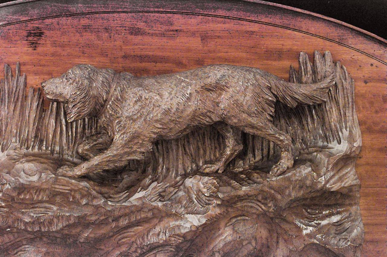 Rustic german mounted satinwood dog relief for sale at stdibs