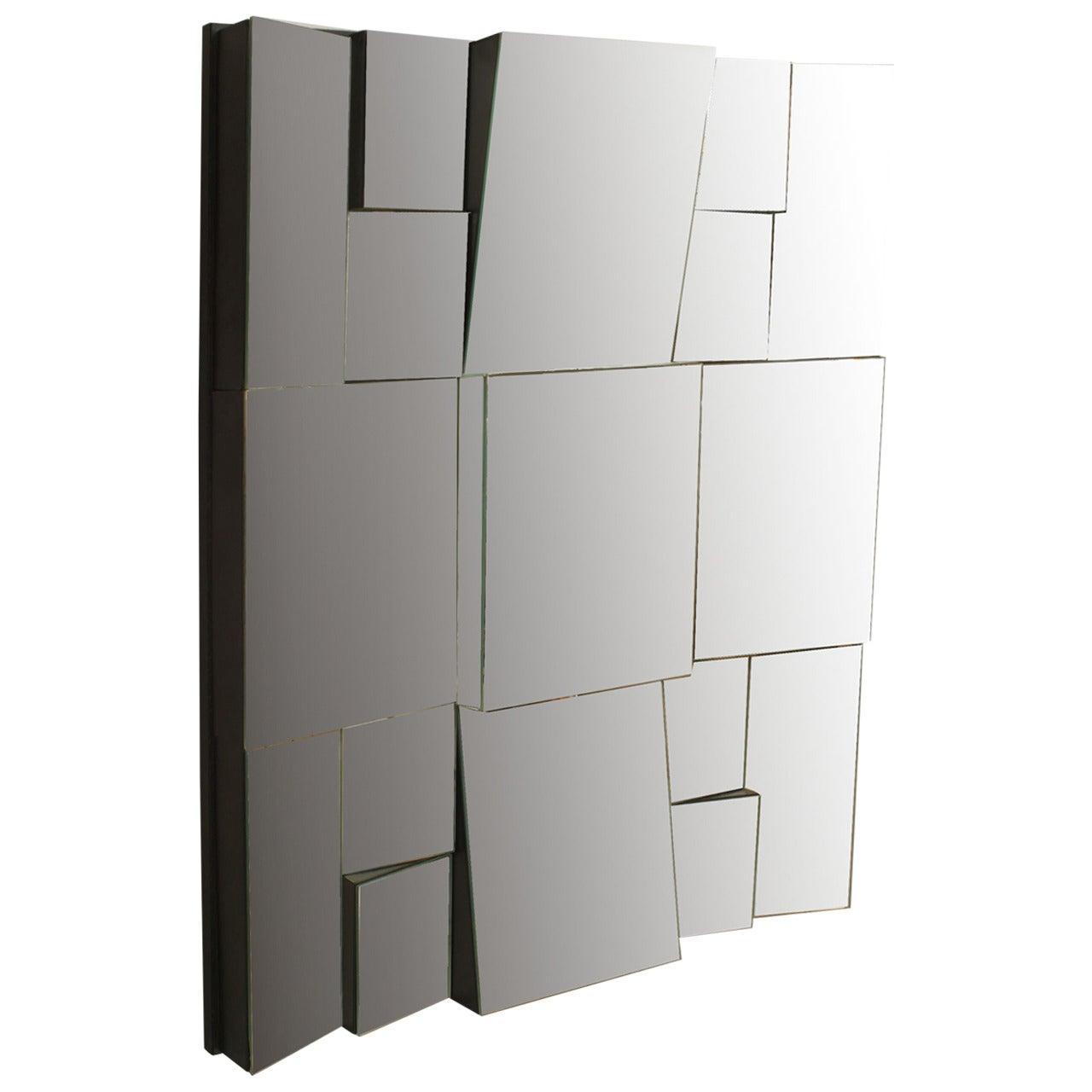 Neal Small Modern Cubist Design Multi-Faced Wall Mirror
