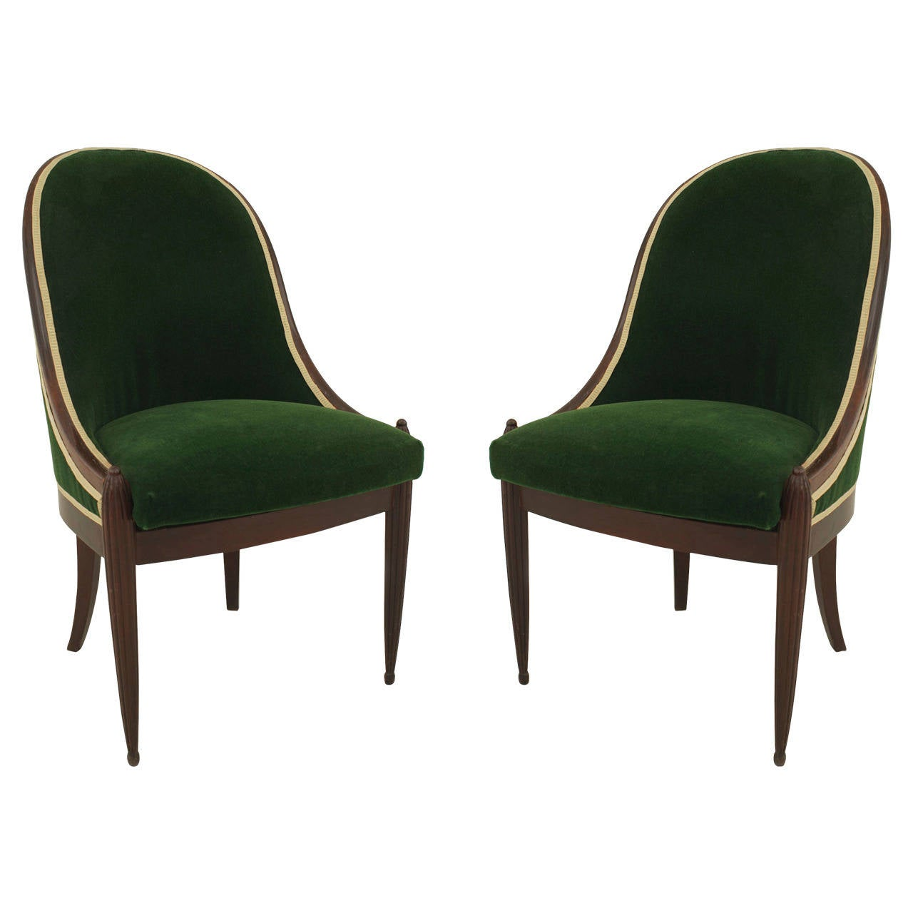 Pair of French Art Deco Green Velvet-Upholstered Mahogany Side Chairs For Sale