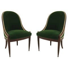Pair of French Art Deco Green Velvet-Upholstered Mahogany Side Chairs