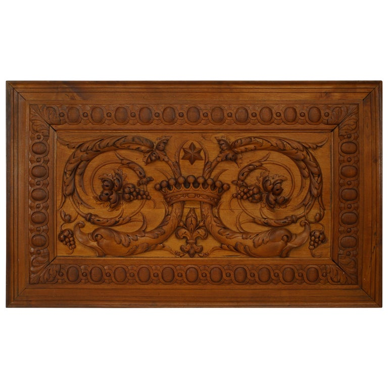 19th Century Italian Neoclassical Style, Relief Carved Walnut Panel For Sale