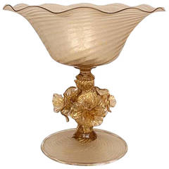 1940s Italian Gold Dusted Murano Glass Compote
