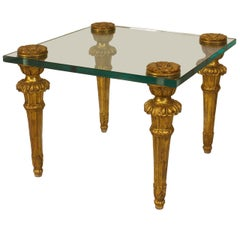 French Louis XVI Style Giltwood and Glass Coffee Table