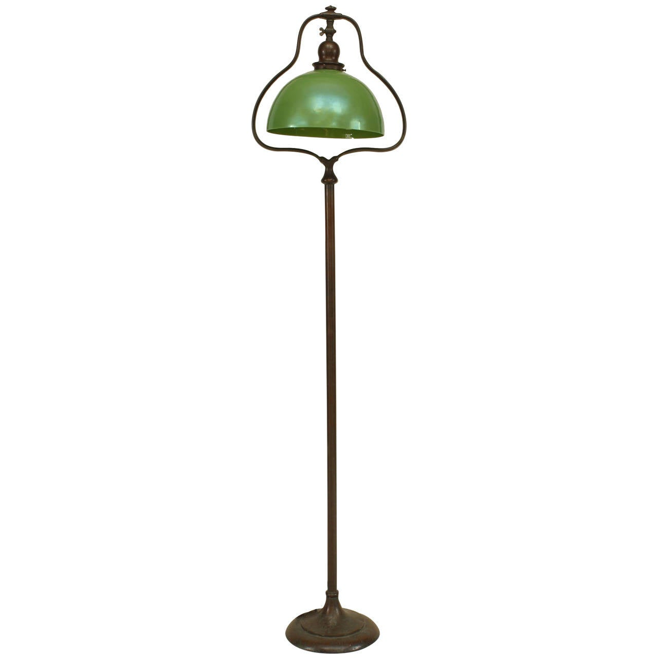 American mission bronze floor lamp with green shade by for Floor lamp with green shade
