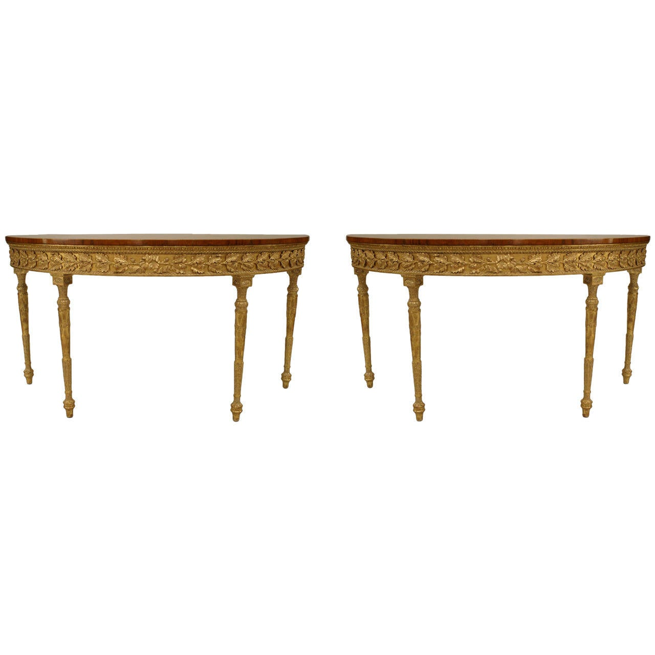 Pair of English Georgian Style Satinwood and Parcel Gilt Demilune Consoles