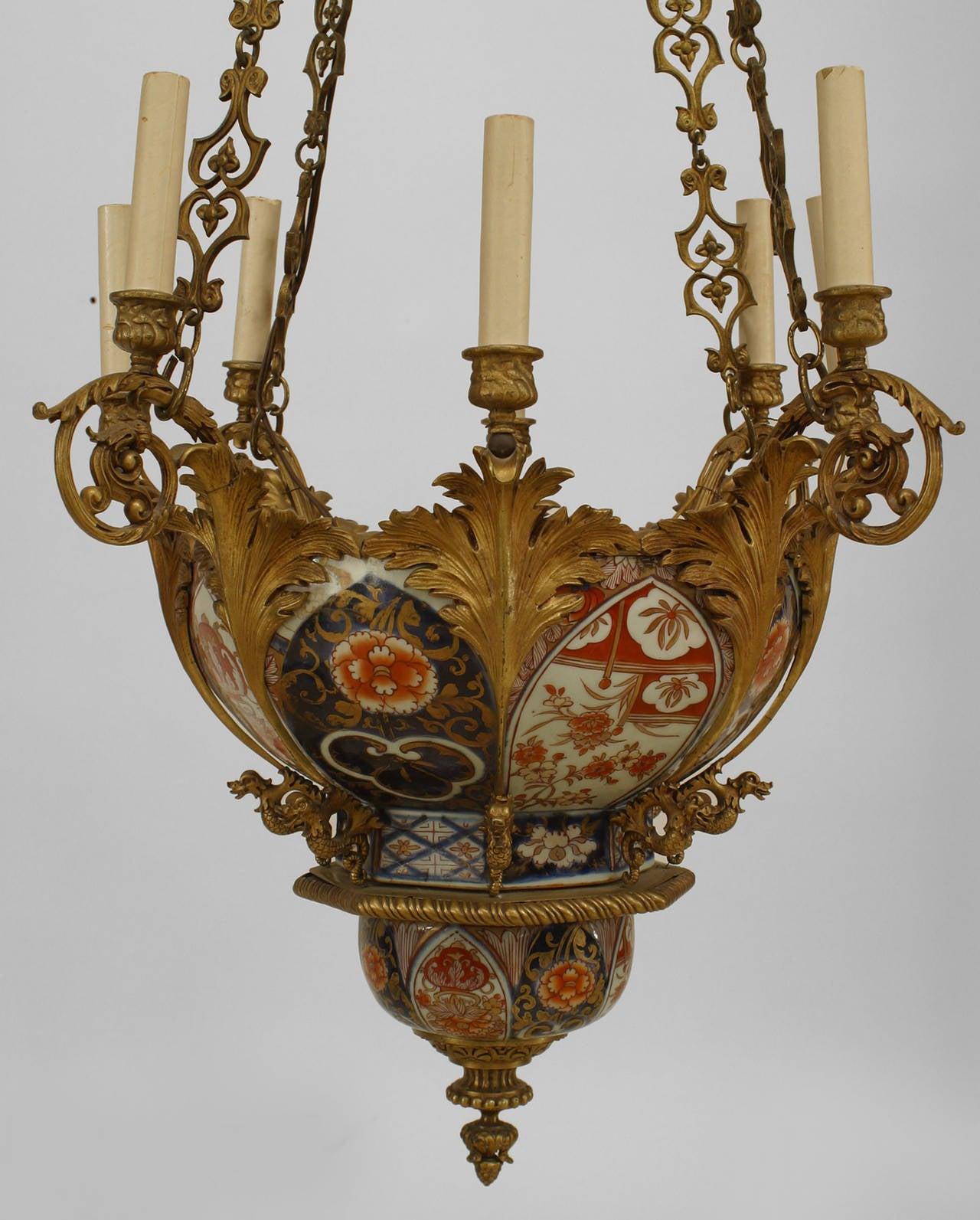 French napoleon iii ormolu and imari porcelain chandelier for sale french napoleon iii ormolu and imari porcelain chandelier 3 arubaitofo Images