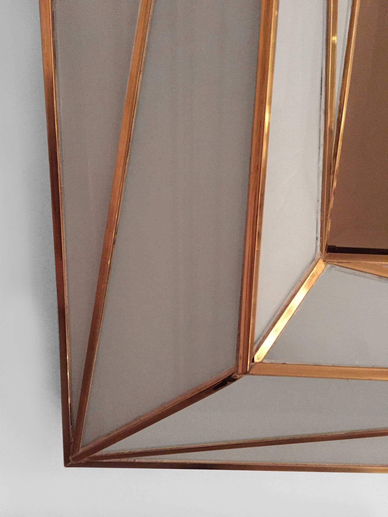 Contemporary Brass Inlaid and White Glass Mirror In Excellent Condition For Sale In New York, NY