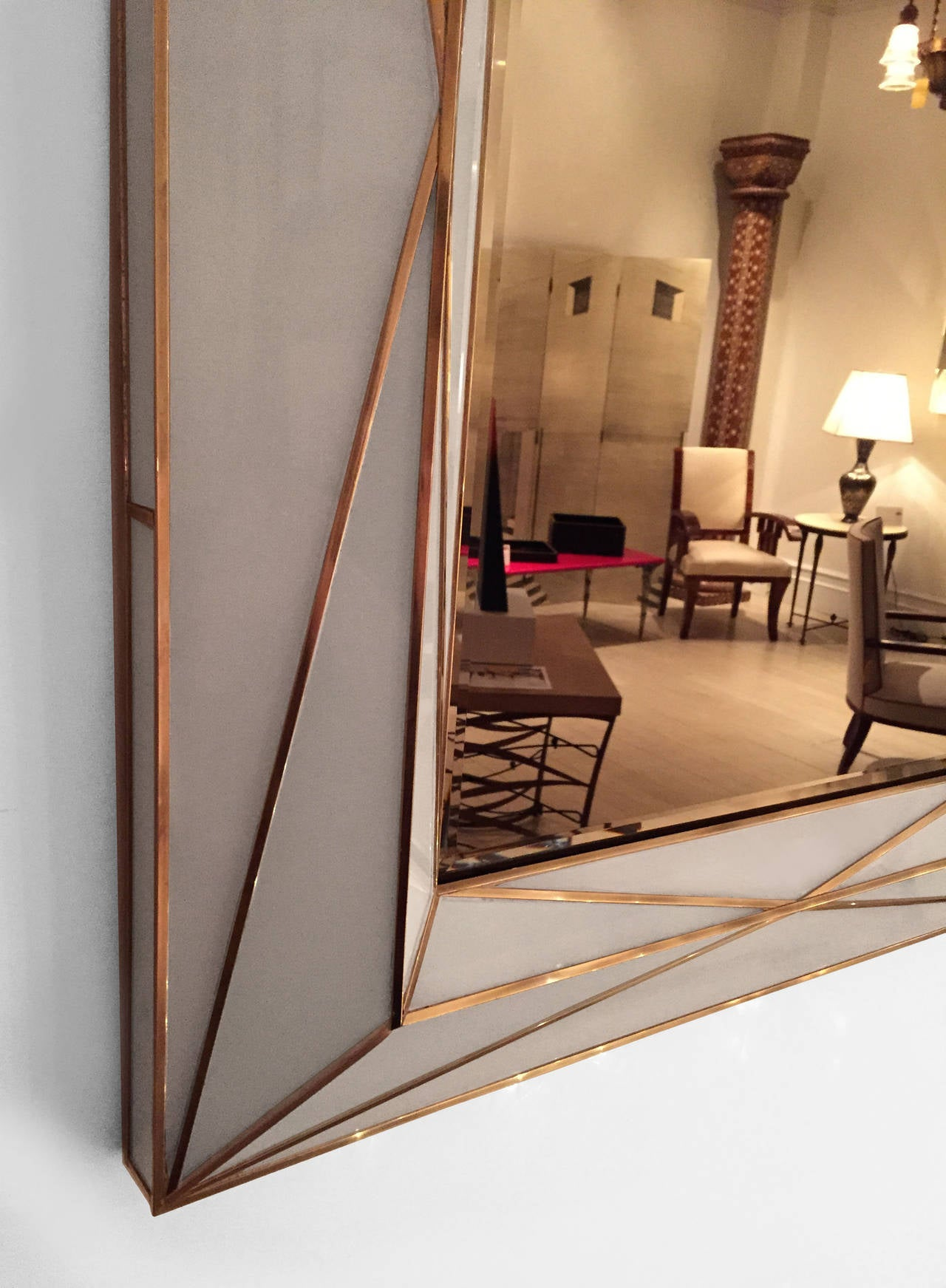 American Contemporary Brass Inlaid and White Glass Mirror For Sale