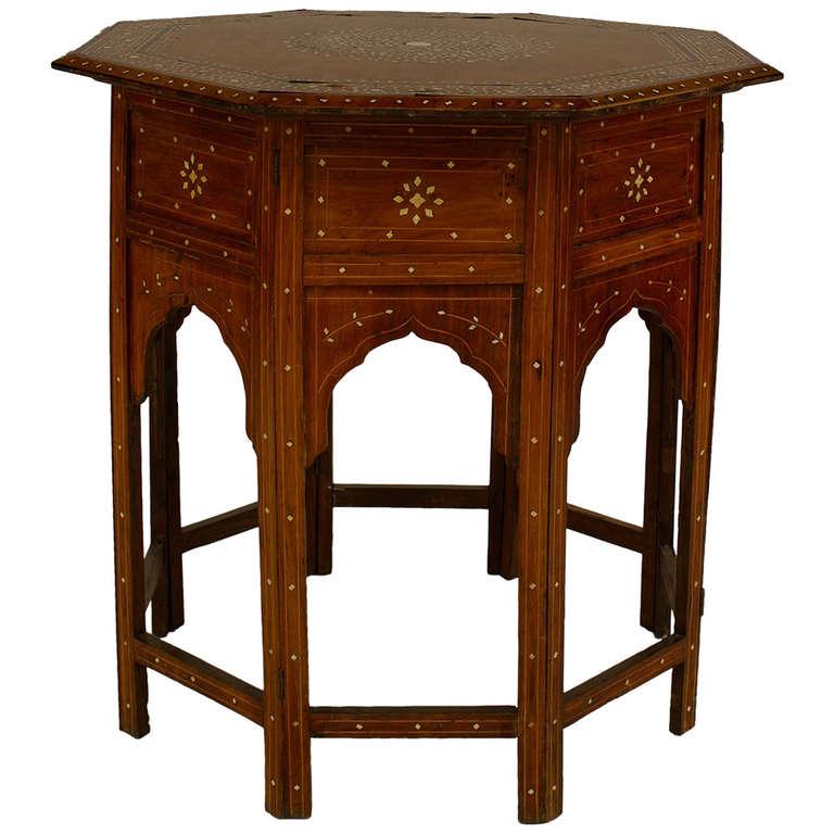 19th Century Moorish Inlaid Teak Taboret Table