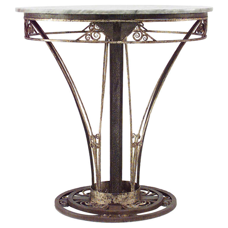 French Art Deco Wrought Iron End Table
