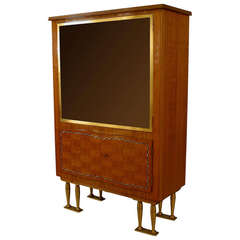 1950's French Bronze-Trimmed Cabinet, by Jules Leleu