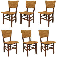 Set of Six Old Hickory Co. Russel Wright Design Side Chairs