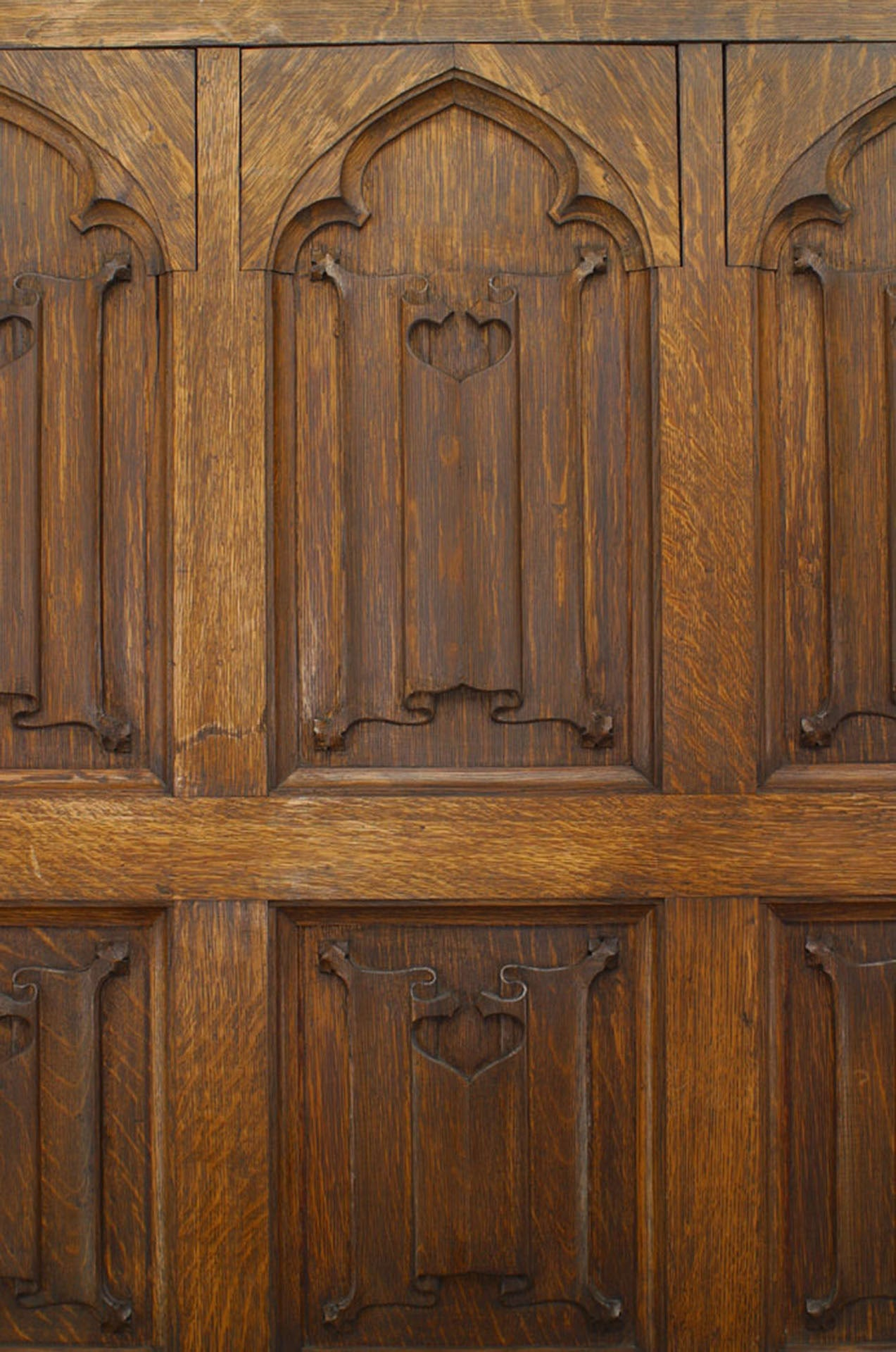 Carved Door Panels : Pair of th century english gothic revival carved oak