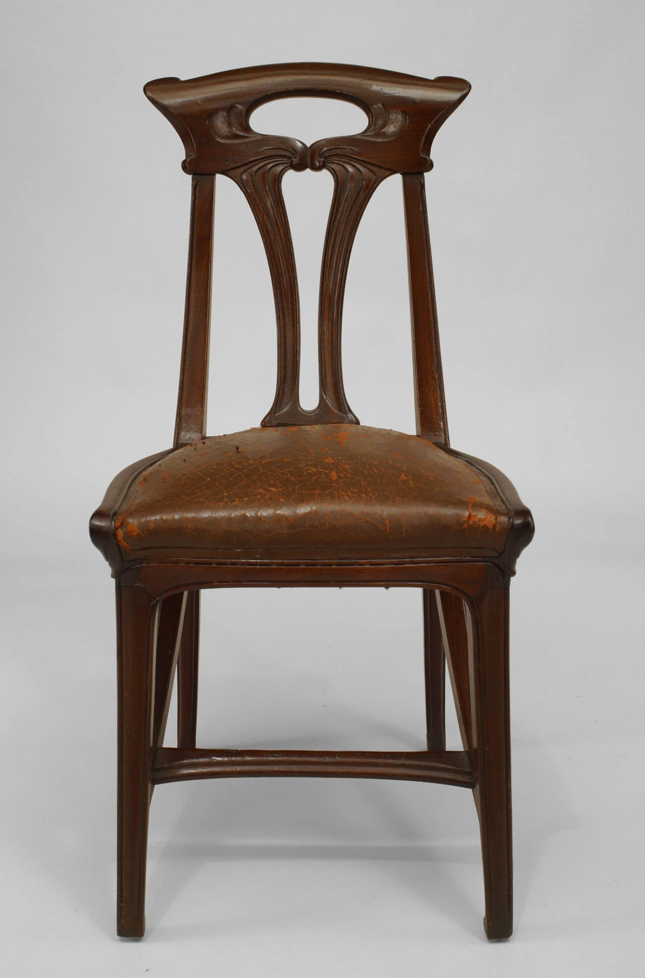 Rare original beech stained chair by eugene gaillard circa 1900 at - Set Of Four French Art Nouveau Walnut And Leather Side Chairs By Gaillard 3