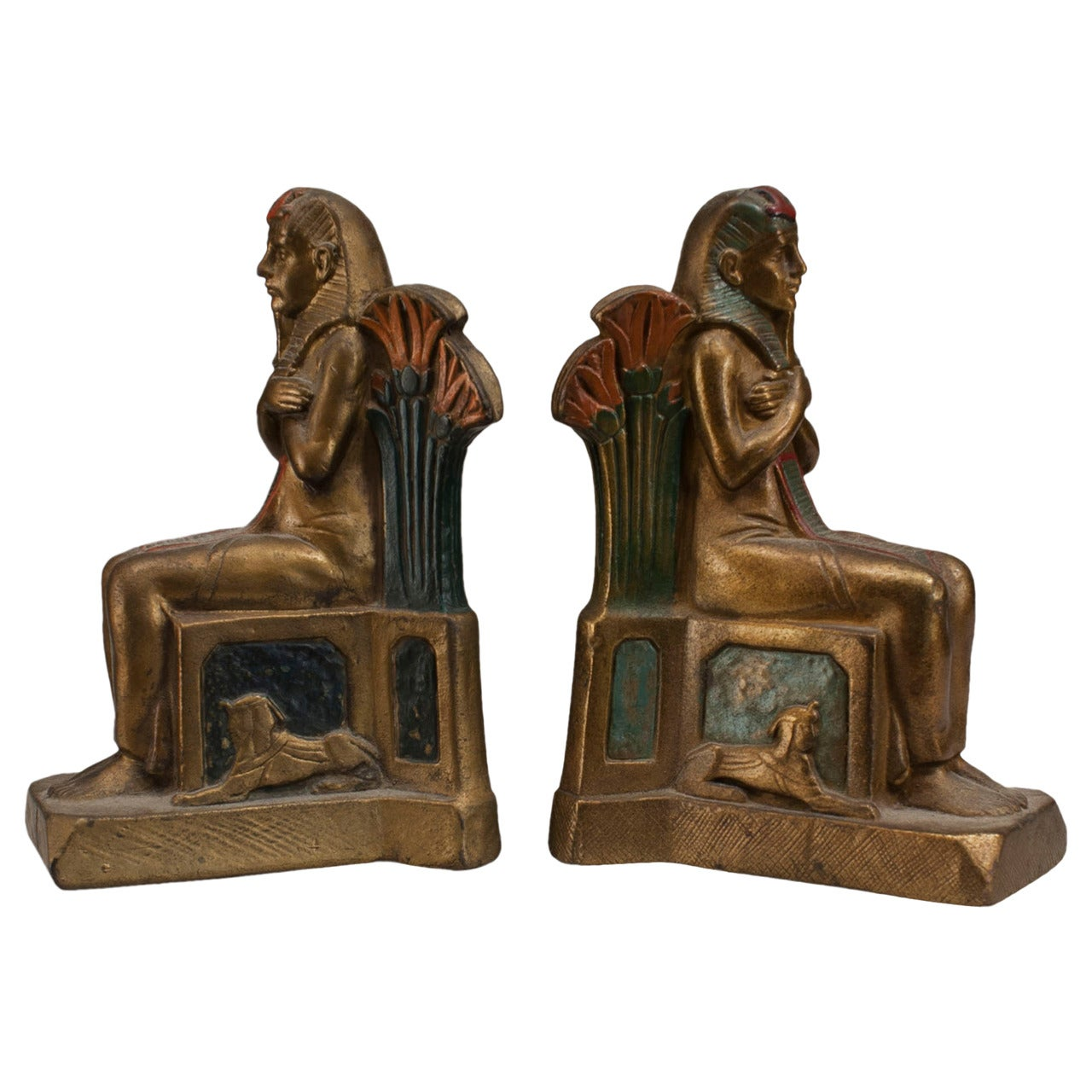 Pair of Early 20th Century Czech, Egyptian Revival Seated Pharaoh Bookends