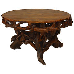 20th c. American Adirondack Style Root Base Dining Table