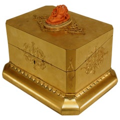 19th Century French Louis XV Style Bronze Dore Jewelry Box with Coral Cameo