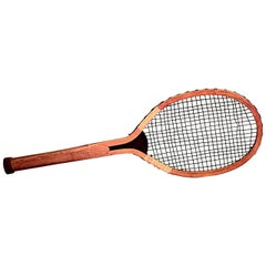 1920's English Oversized Wooden Tennis Racket Plaque by G & T London