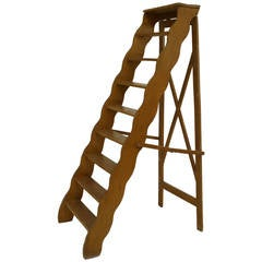 19th Century English Country Style, Scalloped Library Ladder