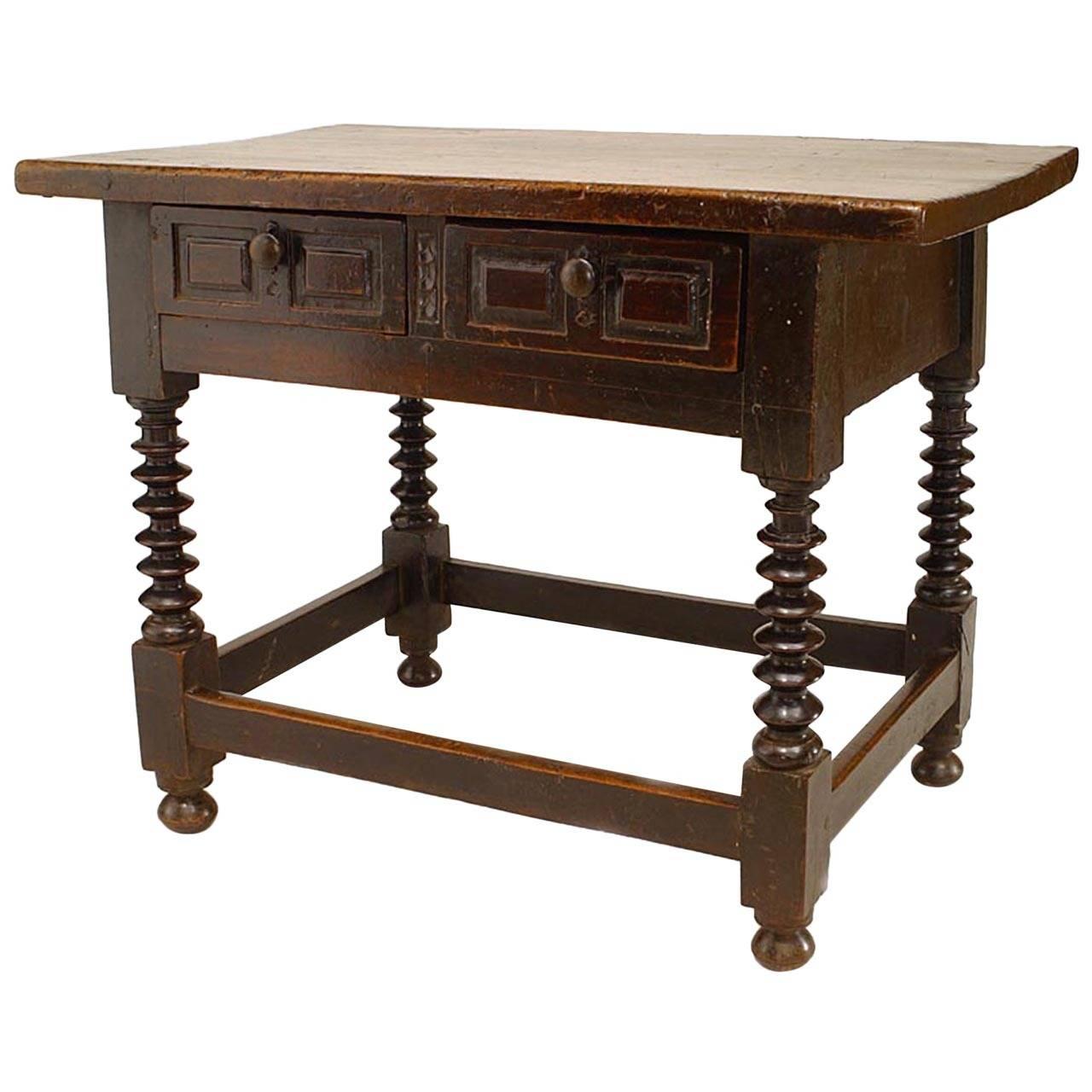 17th c. English Renaissance Walnut Desk